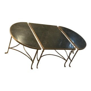 "Lorin Marsh - Pompei"" Surtout Bronze Dore W/Black Granite Coffee Table"