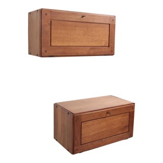 Rare Pair of Early Pierre Chapo B09 Wall Cabinets in Oak
