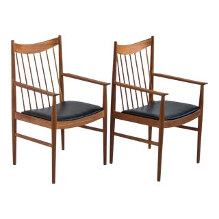 "Arne Vodder Pair of Teak ""Captain"" Dining Arm Chairs"