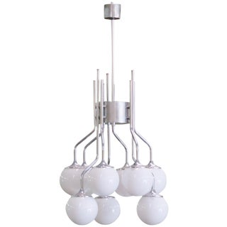 Italian Modern Chrome & Glass Globe Chandalier