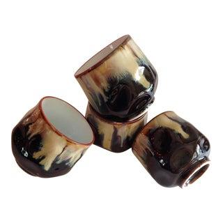Drip Glaze Sake or Tea Cups - Set of 4