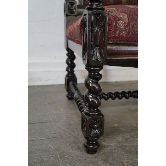 19th Century Antique Gothic Rosewood Barley Twist Throne Chair - Image 5 of 9