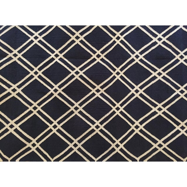 Image of Custom Made Trellis Cotton Dhurrie Rug - 8' X 10'