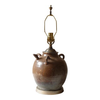 Chinese Ceramic Wine Vessel Lamp