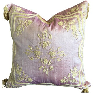 Pink Silk Embroidered Accent Pillow