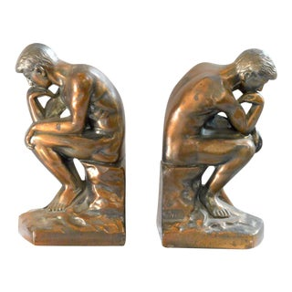 "Brass Plate Bookends ""The Thinkers"" - A Pair"
