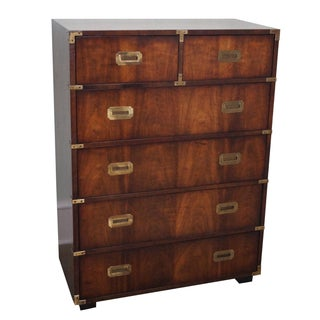 Vintage Lane Campaign Style Walnut Tall Chest