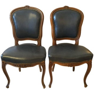 French Slate Blue Leather Side Chairs - A Pair