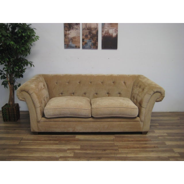 Cream Tufted Chenille Round Arm Sofa by Bauhaus - Image 2 of 5