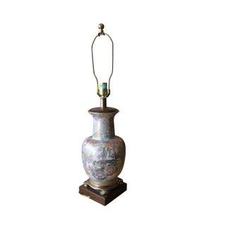 Asian Porcelain Wood & Brass Lamp