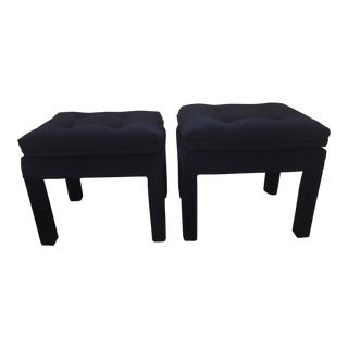 Blue Velvet Parson's Benches - A Pair