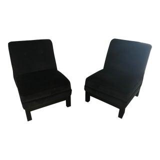 Baker Black Velvet Slipper Chairs - A Pair