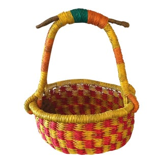 Yellow & Red Handmade African Basket