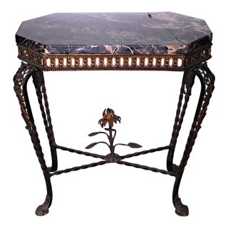 Antique French Wrought Iron Black Marble Top Console