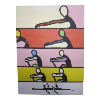 Vintage Rowing Painting, Signed Colette