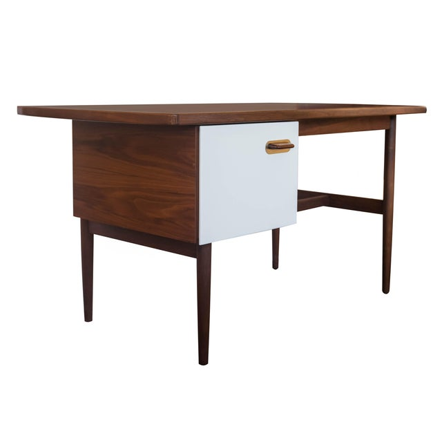 Image of Jens Risom Single Pedestal Desk in Walnut
