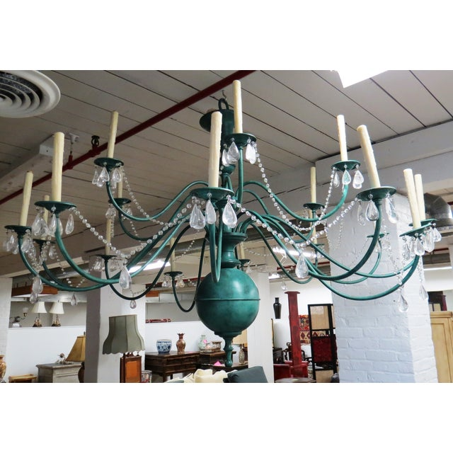 Green Copper Chandelier With Crystal Accents - Image 3 of 8