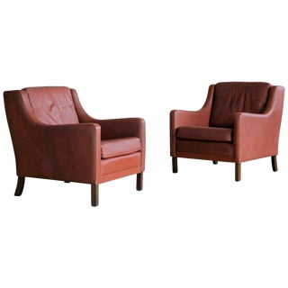 Børge Mogensen Style Red Brown Leather Lounge Chairs - A Pair