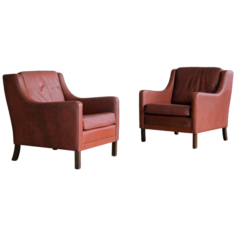 Børge Mogensen Style Red Brown Leather Lounge Chairs   A Pair