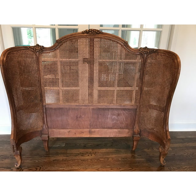 antique french provincial cane carved wood full size bed chairish. Black Bedroom Furniture Sets. Home Design Ideas