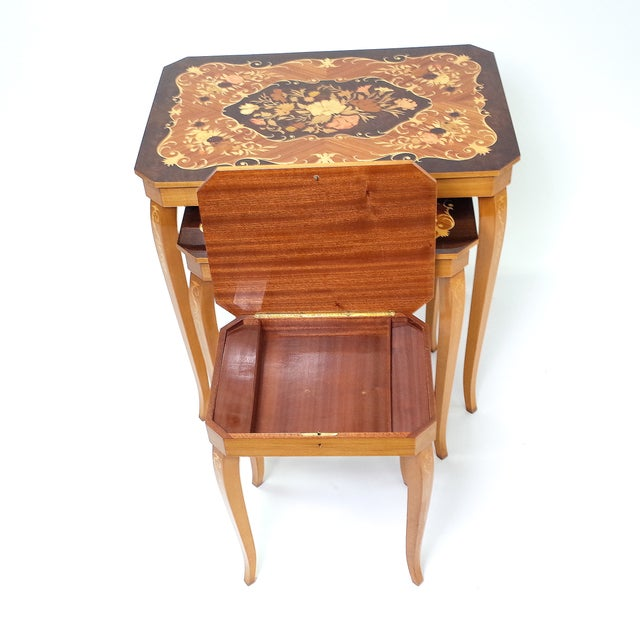 Italian Marquetry Inlay Music Box Nesting Tables - Image 7 of 8