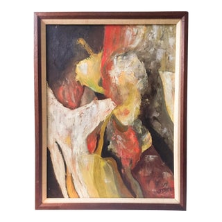 Mid-Century Figural Abstract Oil on Canvas