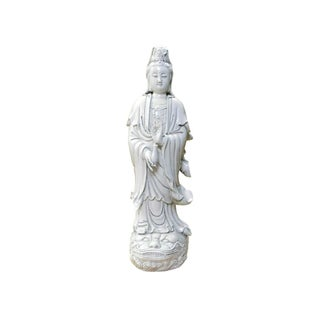 Chinese Vintage Off White Porcelain Kwan Yin Statue