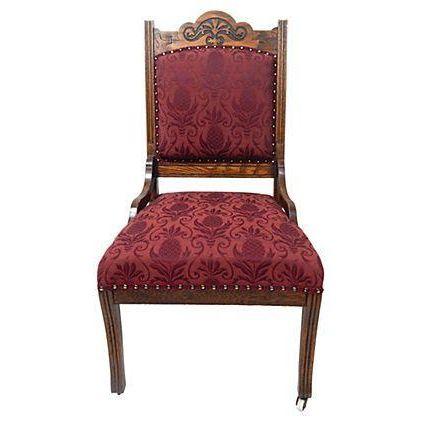 Oak Merlot Burgandy Side Chair - Image 1 of 5