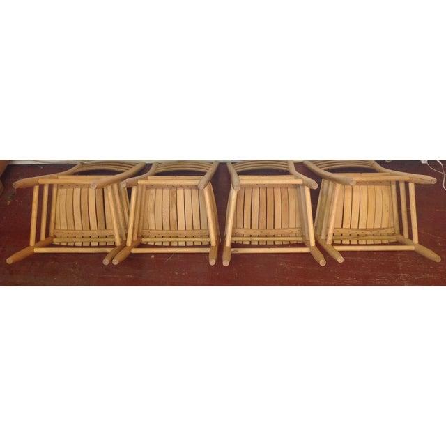 Vintage Sparrow Slat Ladder Back Chairs - Set of 4 - Image 4 of 9