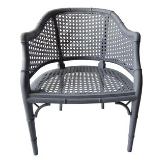 Gray Faux Bamboo Cane Barrel Chair