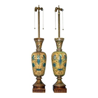 Marbro Carved Egyptian Lamps