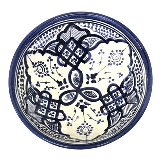 Moroccan Hand-Painted Blue Ceramic Bowl