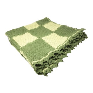 Vintage Green Hand Crochet Wool Blanket