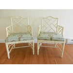 Image of Chinese Chippendale Arm Chairs - A Pair