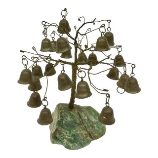 Vintage Brass Bell Tree on Green Stone Base