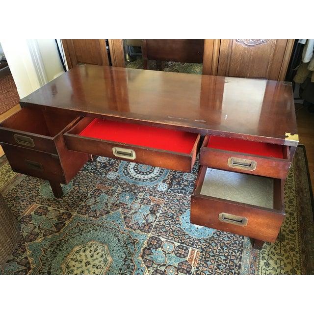Mahogany & Brass Henredon Campaign Desk - Image 3 of 5