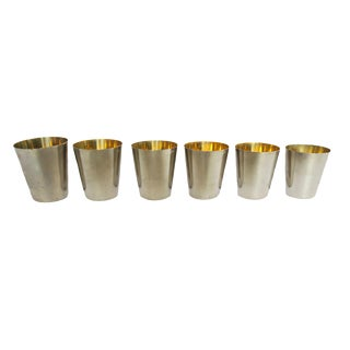 Vintage Germany Graduated Silver and Gold Interior Jigger Shot Glasses Set of 6