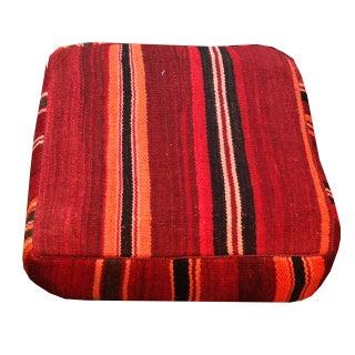 Vintage Cane Carpet with Stripes Pouf Ottoman