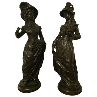 Rancoulet French Victorian Women Bronze Sculptures - A Pair