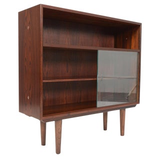 Hjørnebo Narrow Rosewood Sliding Glass Bookcase