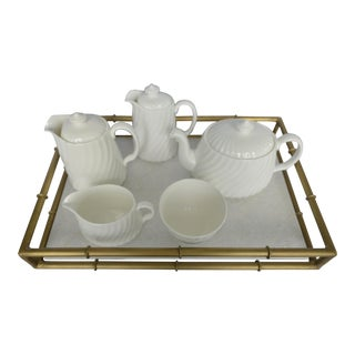 Minton Tea & Coffee Service on Brass & Marble Tray