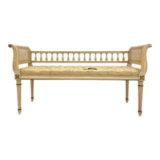 French Cane Side Settee Bench