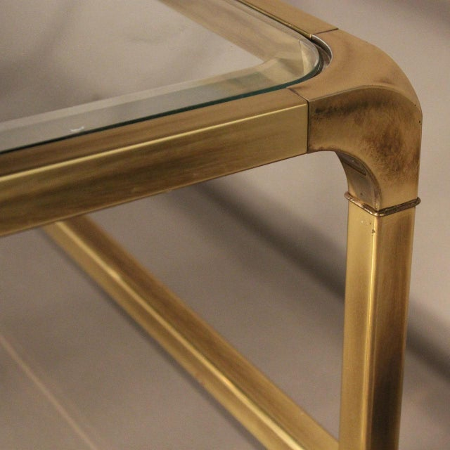 Image of Mastercraft Brass and Glass Coffee Table