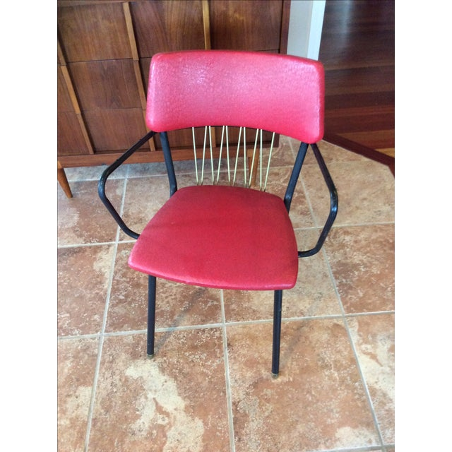 Mid-Century Red Vinyl Dining Chair - Image 2 of 8