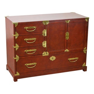 Century Asia Inspired Red Painted Campaign Style Chest