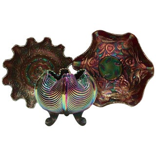 Set of Three 70's Fenton Art Glass Amethyst Bowls