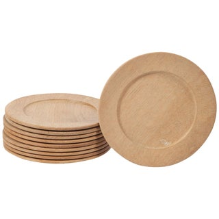 Oak Wood Charger Plates / Chop Plates set of 10