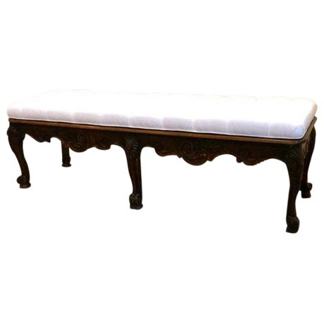Carved Wood Button Tufted Bench - Image 1 of 6