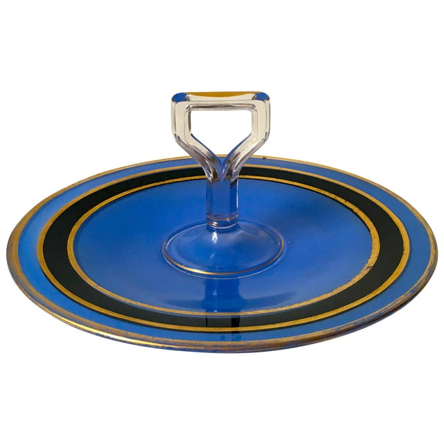 Mid-Century Blue Glass Handled H'ordeuvres Server - Image 1 of 4
