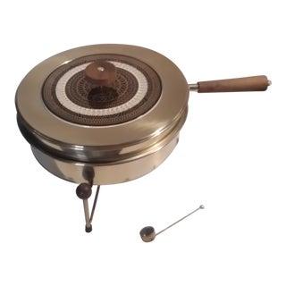 Mid-Century Modern Brass Chafing Warmer Serving Dish & Stand